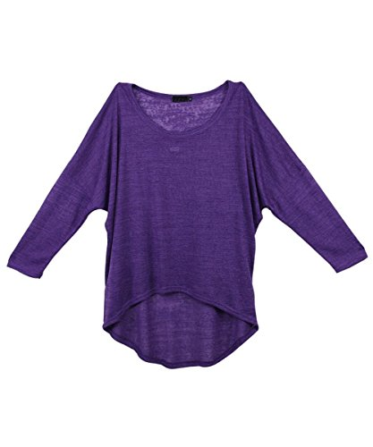 Absolutely Perfect Women's Casual Oversized Baggy Blouse Shirts Pullover Tops Purple Large