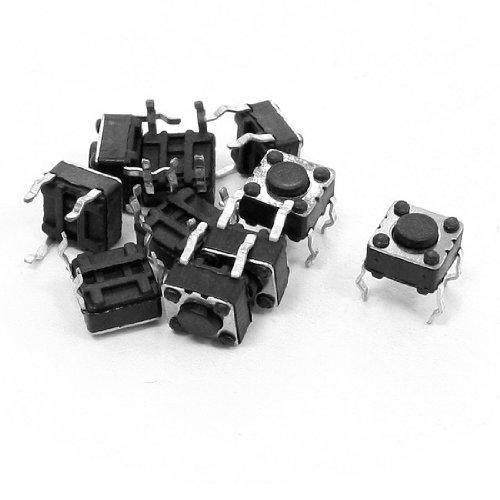 uxcell タクトスイッチ PCBモーメンタリ触覚タクトプッシュボタンスイッチ   4ピンDIP 6x6x4.5mm 10個入り