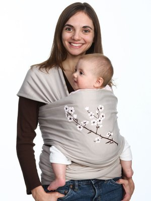 Moby Wrap Uv Spf 50+ 100% Cotton Baby Carrier, Almond Blossom front-597059