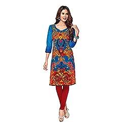 Stylish Girls Women Cotton Printed Unstitched Kurti Fabric (SG_K1003_Blue_Free Size)