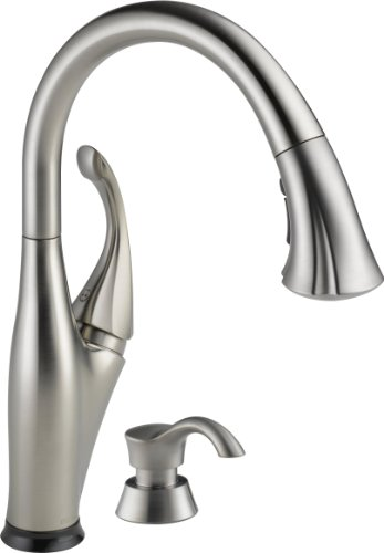 Delta 9192T-SSSD-DST Addison Single Handle Pull-Down Kitchen Faucet with Touch2O Technology and Soap Dispenser, Stainless