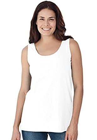 Women's Plus Size Tank Top Shirt In Soft Stretch Knit, Scoop Neck (White,M)