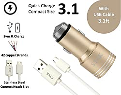 SToK 3.1 Amp Output with 2 USB Port Compatible Certified Car Charger For Apple iPhone, Samsung, Micromax, HTC, Nokia, OnePlus, Xiaomi & All Other Smartphones And Tablets - Smallest Car Charger With 2 Fast Charging USB Ports - (Gold) with MICRO USB CABLE 3.2 feet / 1 meter (ST-CC110-G-UD1)