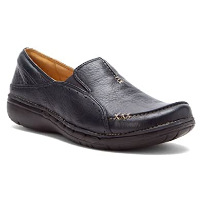 clarks womens un buckle navy leather shoes