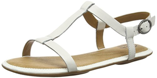 Clarks - Risi Hop, Sandalo da donna, bianco (white leather), 38