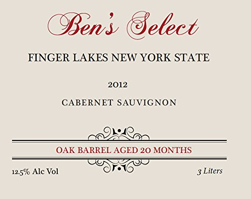 "2012 Ben Ish Winery ""Ben'S Select"" Finger Lakes New York State Cabernet Sauvignon With Personalized Label 3 L"