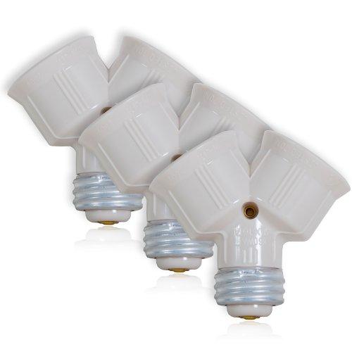 light bulb socket splitter for led cfl and standard bulbs pack of 3. Black Bedroom Furniture Sets. Home Design Ideas