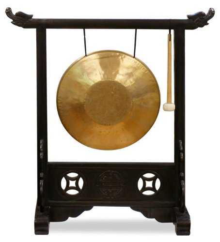 Chinese Brass Gong with Dragon Stand