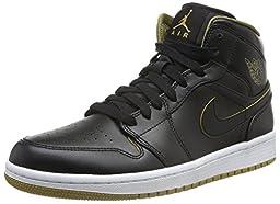 Nike Jordan Men\'s Air Jordan 1 Mid Black/Metallic Gold/White Basketball Shoe 12 Men US