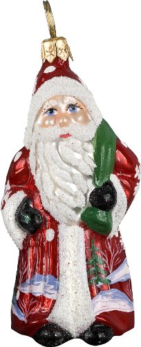 Ino Schaller Blown Glass Mini Red Snowflake Santa Ornament by Joy To The World Collectibles