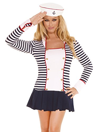 2 Piece Womens Sailor Costume Set Long Sleeve Sailor Dress and Hat