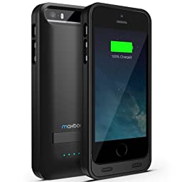 iPhone 5 Battery Case , Maxboost Atomic S iPhone Charger For Apple iPhone 5 / iPhone 5s [APPLE MFI Certified] Protective 2400mAh Battery Pack Juice Power Case with Built-in Kickstand - Black/Black