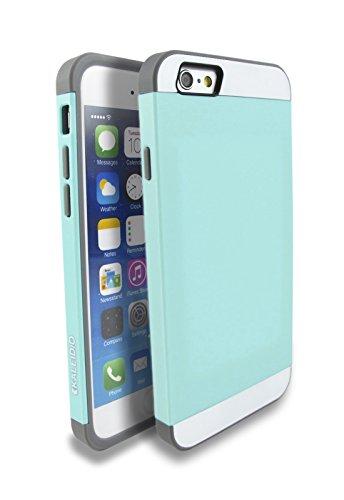Kaleidio TM [Colour Series] Multi Tone Dual Layer Protective Case for Apple iPhone 6 / 6S (4.7) [Includes Overbrawn Prying Tool] [Turquoise Blue/Grey]