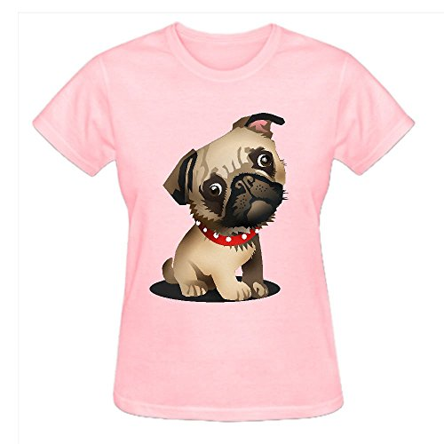 Firebo Pug Pup Baby Graphic Crew Neck Tee For Women Pink