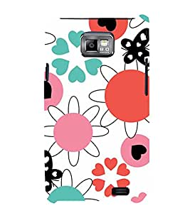 ANIMATED FLOWERS AND BUTTERFLIES PATTERN ON A WHITE BACKGROUND 3D Hard Polycarbonate Designer Back Case Cover for Samsung Galaxy S2 :: Samsung Galaxy S2 i9100
