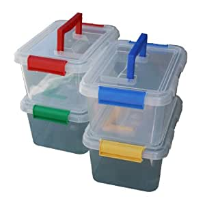 4 x 3.5lt 3.5 Litre Plastic Storage Box Container With Clip On Lid and Handle
