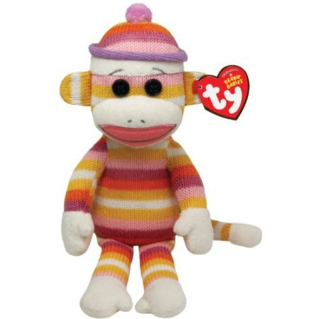 Ty Beanie Babies Sock Monkey Pastel Stripes 8' Plush