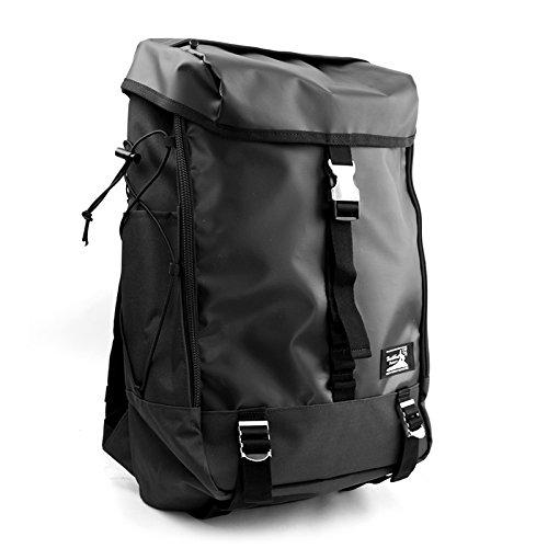 Healthknit ヘルスニット PVC ボックス デイパック メタルバックル 大容量 メンズ レディース ユニセックス カジュアル 旅行 アウトドア リュック リュックサック (ブラック)
