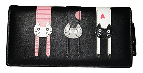 Nawoshow Women Wallet Cute Cat Wallet Bifold Long Purse with Zipper(Black) Review