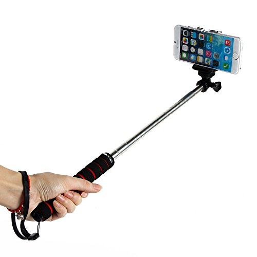 "Masione™ Black Professional Cellphone Extendable Handheld Self-Portrait Stick Monopod Telescoping Telescopic Pole (9""-37"") With Universal Adajustable Smartphone Adapter Holder For Gopro 1 2 3 3+/ Digital Camera/ Cellphone"