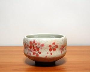 Ryu Mei Ippuku Shino Tataki Sakura Matcha Chawan (Matcha Bowl), Red