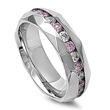 Stainless Steel 8mm Pink & Clear Cz Eternity Ring (Size 7 - 13) - Size 7