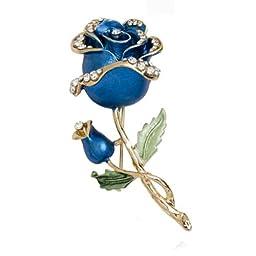 Blue Rhinestone Crystal Rose Flower Wedding Bridal Pin Brooch DDStore