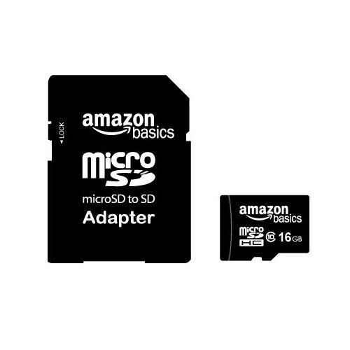 AmazonBasics 16 GB microSDHC Class 10 Flash Memory Card with SD Adapter