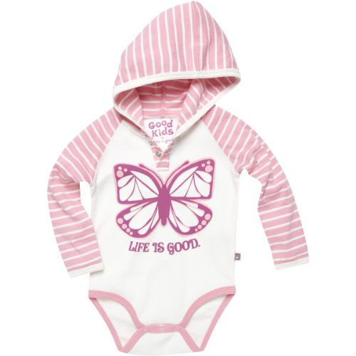 Life Is Good Baby Long Sleeve Hoodie Butterfly Onesie, Blush Pink, 18-24 Months front-727812