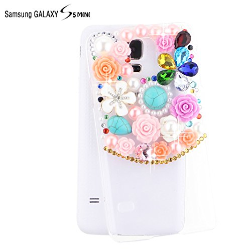 Ancerson White Blue Golden Green Blue Red Rain Drop Turquoise 3D Handmade Luxury Shining Glitter Crystal Diamond Rhinestones Hard Back Case Cover For Samsung Galaxy S5 Mini (Not For S5) Free With A Red Stylus Touchscreen Pen, A 3.5Mm Universal Crystal Dia