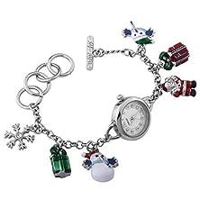buy Time100 Fashion Snowflake Santa Ladies Gift Silver Bracelet Watch #W50246L.01A
