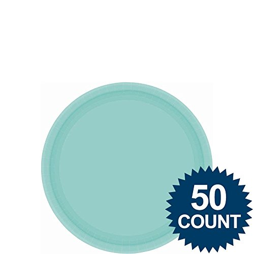 Amscan Big Party Pack 50 Count Paper Dessert Plates, 7-Inch, Robbins Egg Blue