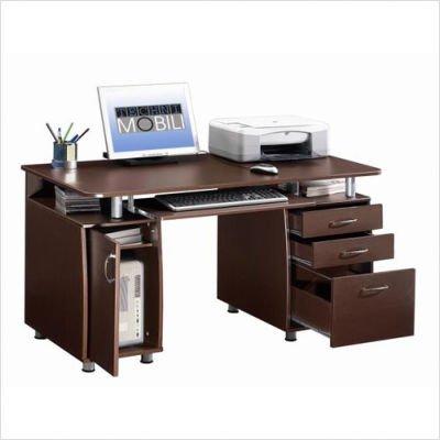 Buy Low Price Comfortable Techni Mobili Super Storage Computer Desk in Chocolate Finish (B0033J90N8)