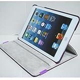iPad mini ケース/アイパッド ミニ/スタンドC型/合皮製/牛皮模様/モニター回転式/パープル/紫色