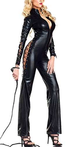 Allbebe Women's Halloween Black Wild Sexy Leather Cosplay Catwoman Costume