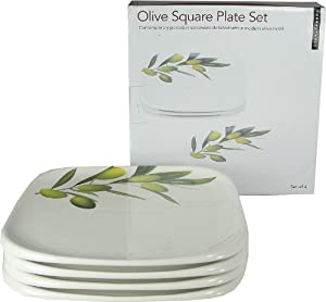 Olive Motif Contemporary Set of 4 Square Plates