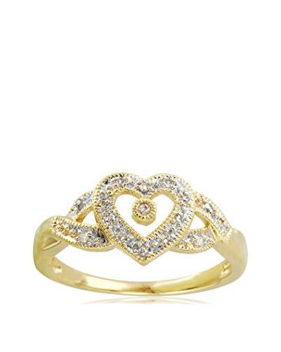 Fashion Strada 10K Gold Open Heart Diamond Ring