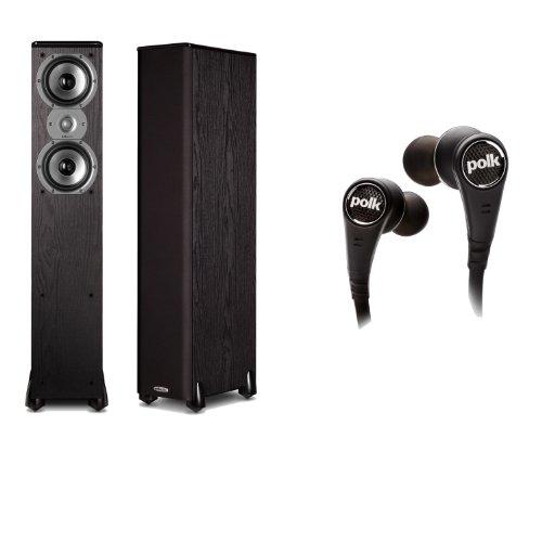Polk Audio Tsi300 Floorstanding Speakers (Pair) Plus A Pair Of Polk Audio Ultrafocus 6000 In-Ear Headphones