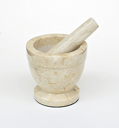 Champagne Marble Pestle & Mortar in Natural Size: 10 cm H x 8 cm W x 8 cm D