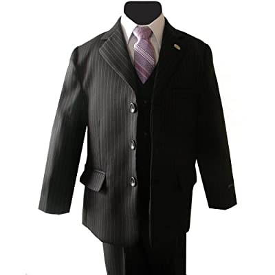 Johnnie Lene Pinstripe Black Suit Set for Boys From Baby to Teen