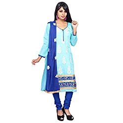 Roohi Blue Cotton Unstitched Embroidered Dress Material-Salwar Suit