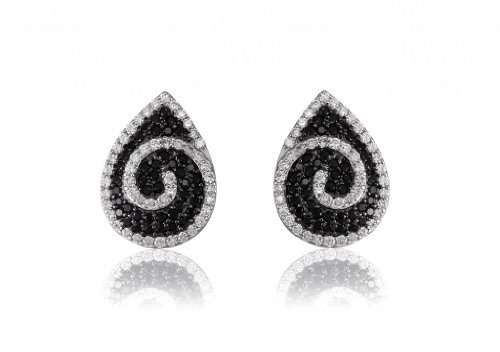 Lifestyle Infinity Lifestyle Black And White Cubic Zirconia Drop Earrings For Women (E204001RB) (Multicolor)