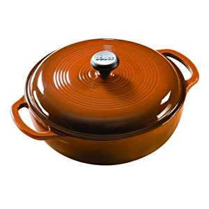 Lodge Enameled Cast-Iron 3-Quart Dutch Oven, Cafe Brown