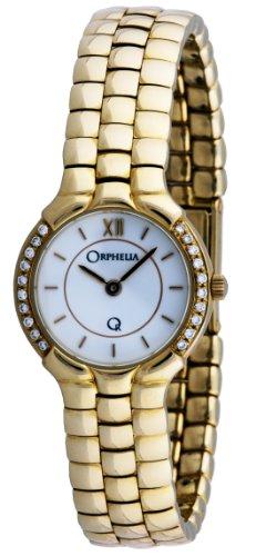 Orphelia - Mon-7016 - Montre Femme - Or 18 Carats - Diamants 0.2 Cts - Quartz Analogique - Cadran Blanc - Bracelet Or Jaune 18 Carats