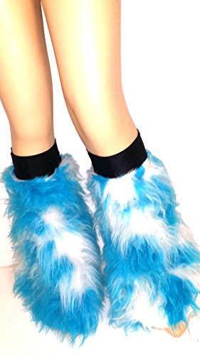 Blue White Two Tone Fluffy Furry Boot Covers Legwarmer Cyber Rave Clubwear Halloween