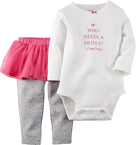 "Carter's Baby Girls' ""Who Needs a Prince?"" 2-Piece Outfit - ivory, 9 months"