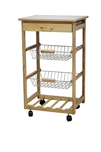Ja Marketing Pine Wood Kitchen Cart With Baskets And 4 Slot Wine Holder Furniture Carts Islands