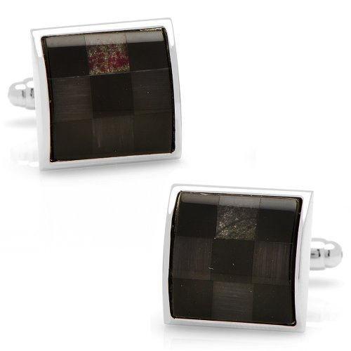 Ox And Bull Mens Plated Onyx And Grey Fiber Optic Checker Board Cufflinks