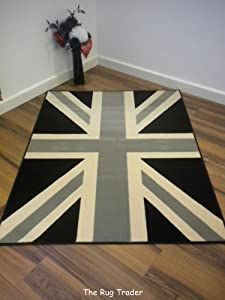 Funky Retro Buckingham Black Grey Union Jack Rug 120cm x 160cm by Flair