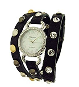 Geneva Designer Inspired Leather Wrap Watch Black